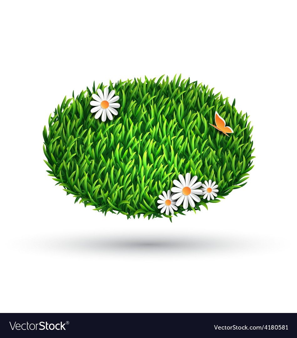 Green grass oval with chamomiles and butterfly vector | Price: 1 Credit (USD $1)