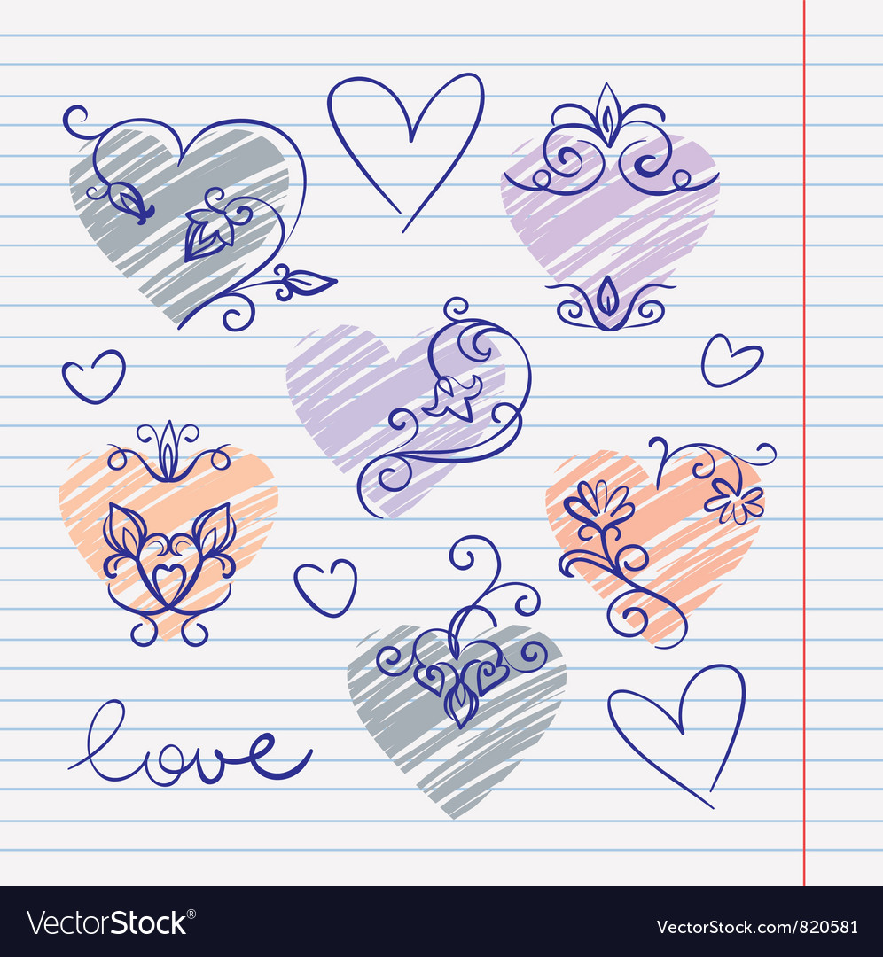 Hand-drawn love doodles in sketchbook vector | Price: 1 Credit (USD $1)