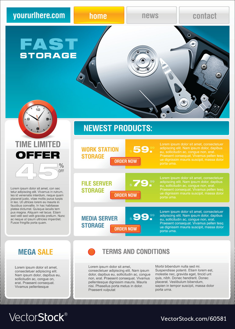 Hard disk promotional brochure vector | Price: 3 Credit (USD $3)
