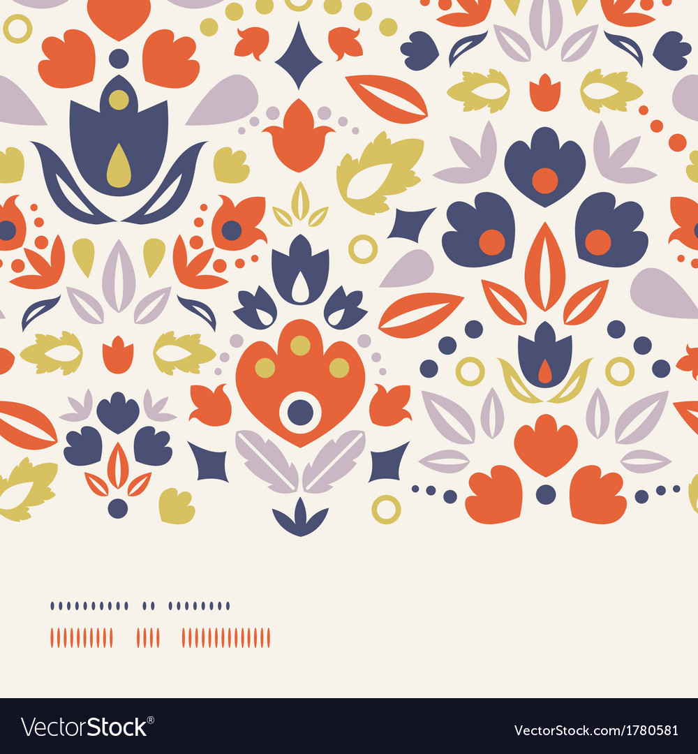 Ornamental folk tulips horizontal frame seamless vector | Price: 1 Credit (USD $1)