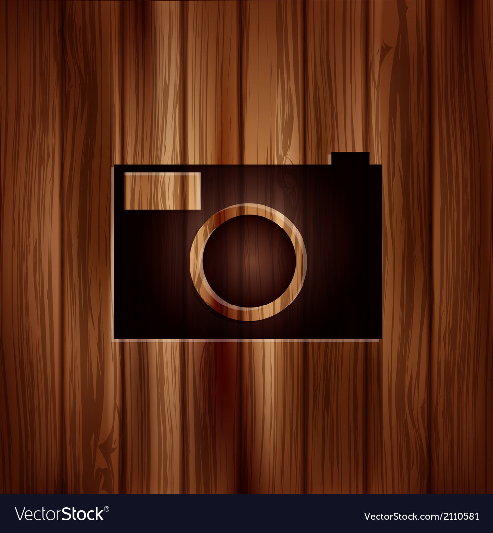 Photo camera icon photography wooden texture vector   Price: 1 Credit (USD $1)