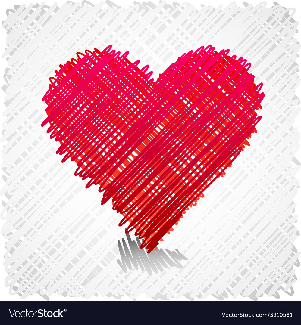Scribbled heart shape vector | Price: 1 Credit (USD $1)
