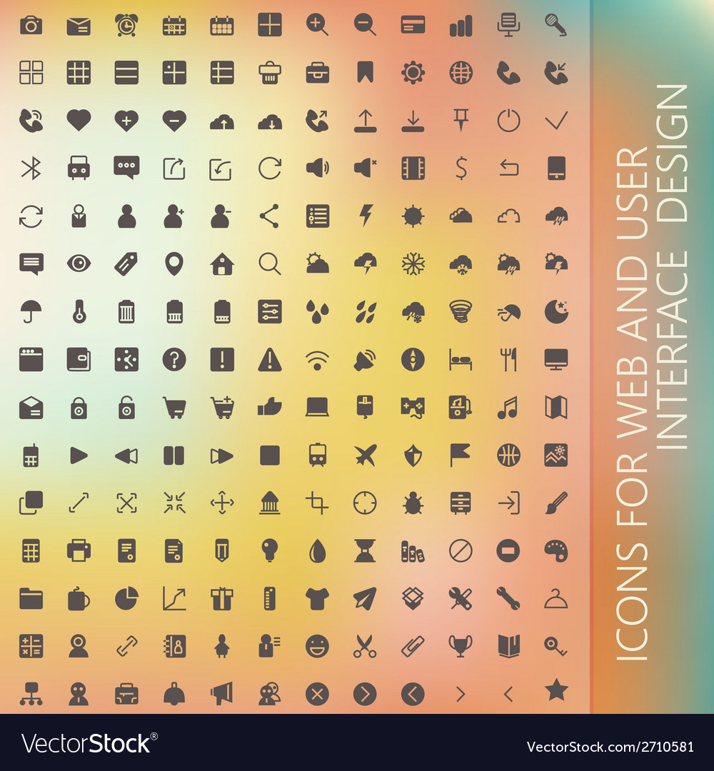 Set of icons for web and user interface design vector   Price: 1 Credit (USD $1)