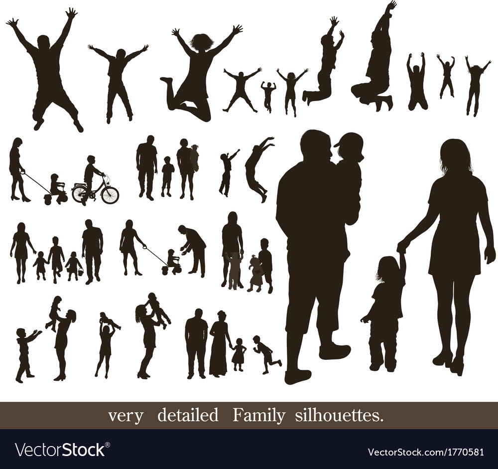 Set of very detailed family silhouettes vector | Price: 1 Credit (USD $1)