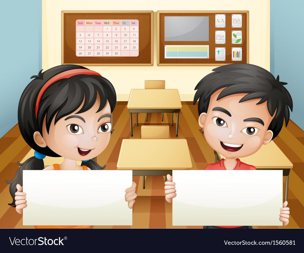 Two smiling teenagers with empty signages vector   Price: 3 Credit (USD $3)