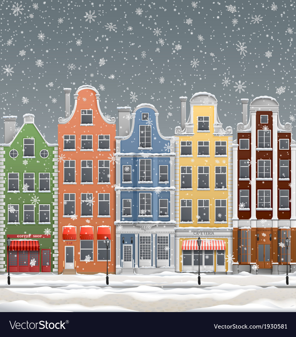 Winter in town vector | Price: 1 Credit (USD $1)