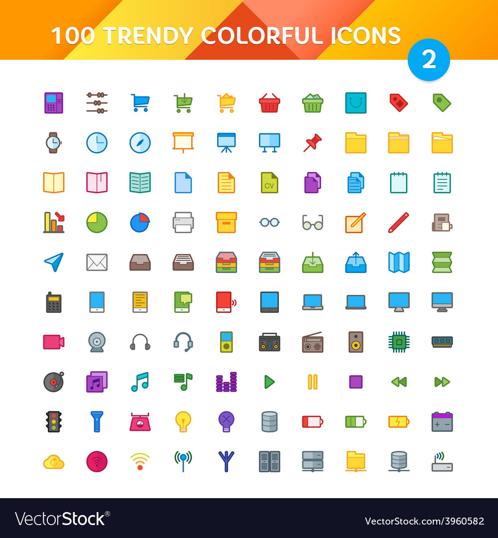 100 universal icons set 2 vector | Price: 1 Credit (USD $1)