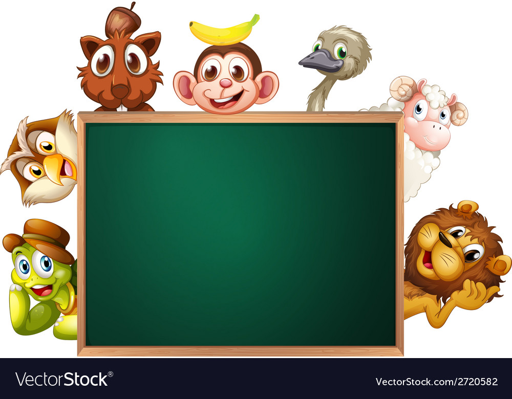 A blackboard surrounded with animals vector | Price: 1 Credit (USD $1)