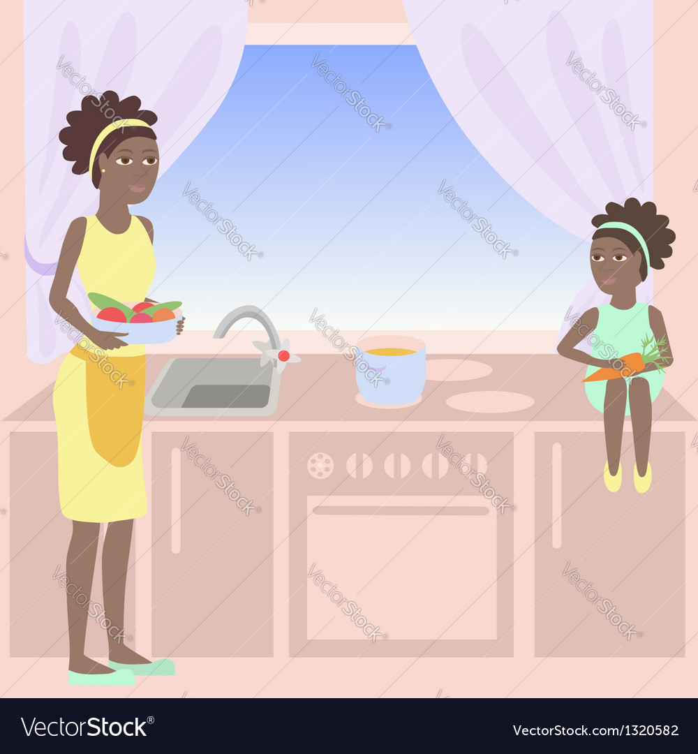 African mother and daughter cooking together vector   Price: 1 Credit (USD $1)