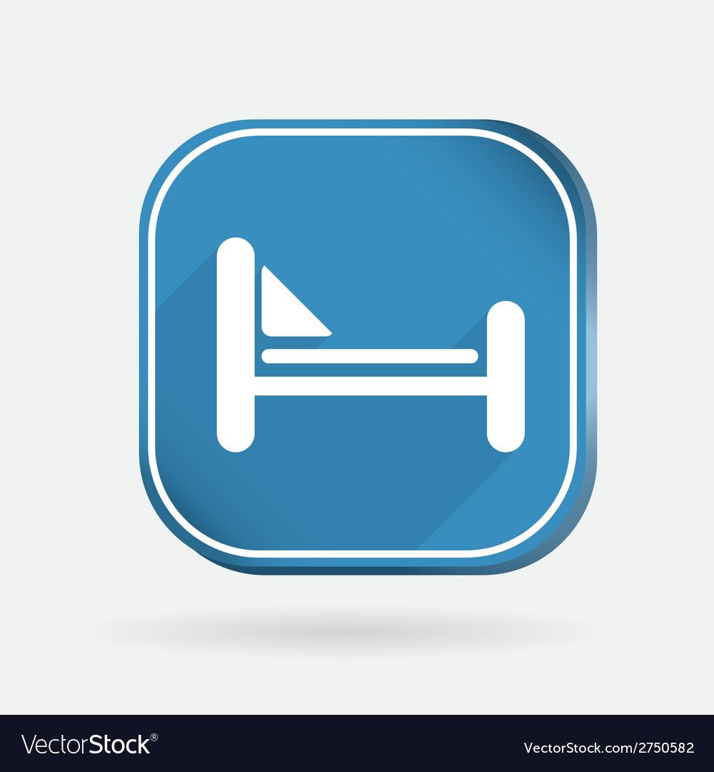 Bed symbol sign color square icon vector   Price: 1 Credit (USD $1)