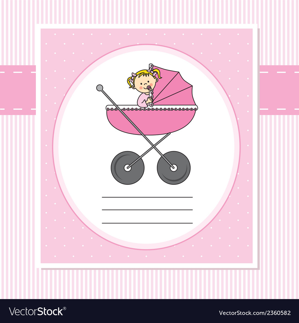 Birth card girl vector | Price: 1 Credit (USD $1)