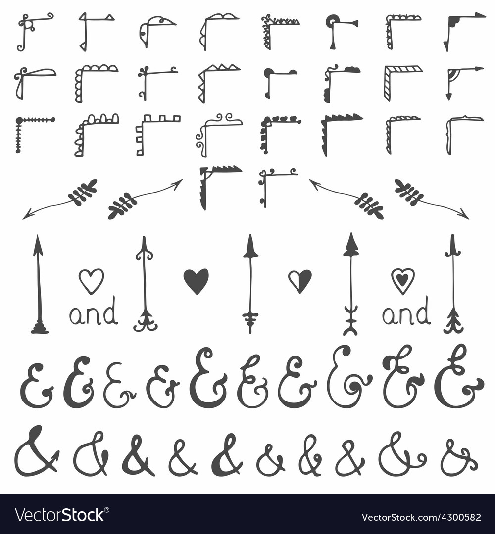 Collection of hand sketched elements calligraphic vector | Price: 1 Credit (USD $1)