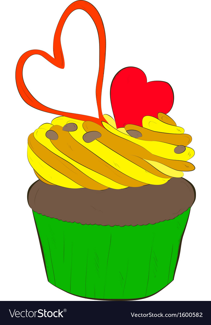 Cupcake with whipped cream and hearts vector | Price: 1 Credit (USD $1)