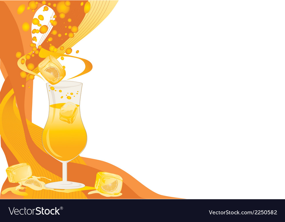 Drink card with ice and oranges vector | Price: 1 Credit (USD $1)