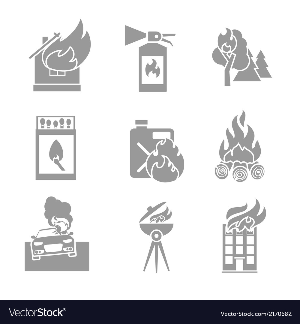 Fire protection icons vector | Price: 1 Credit (USD $1)