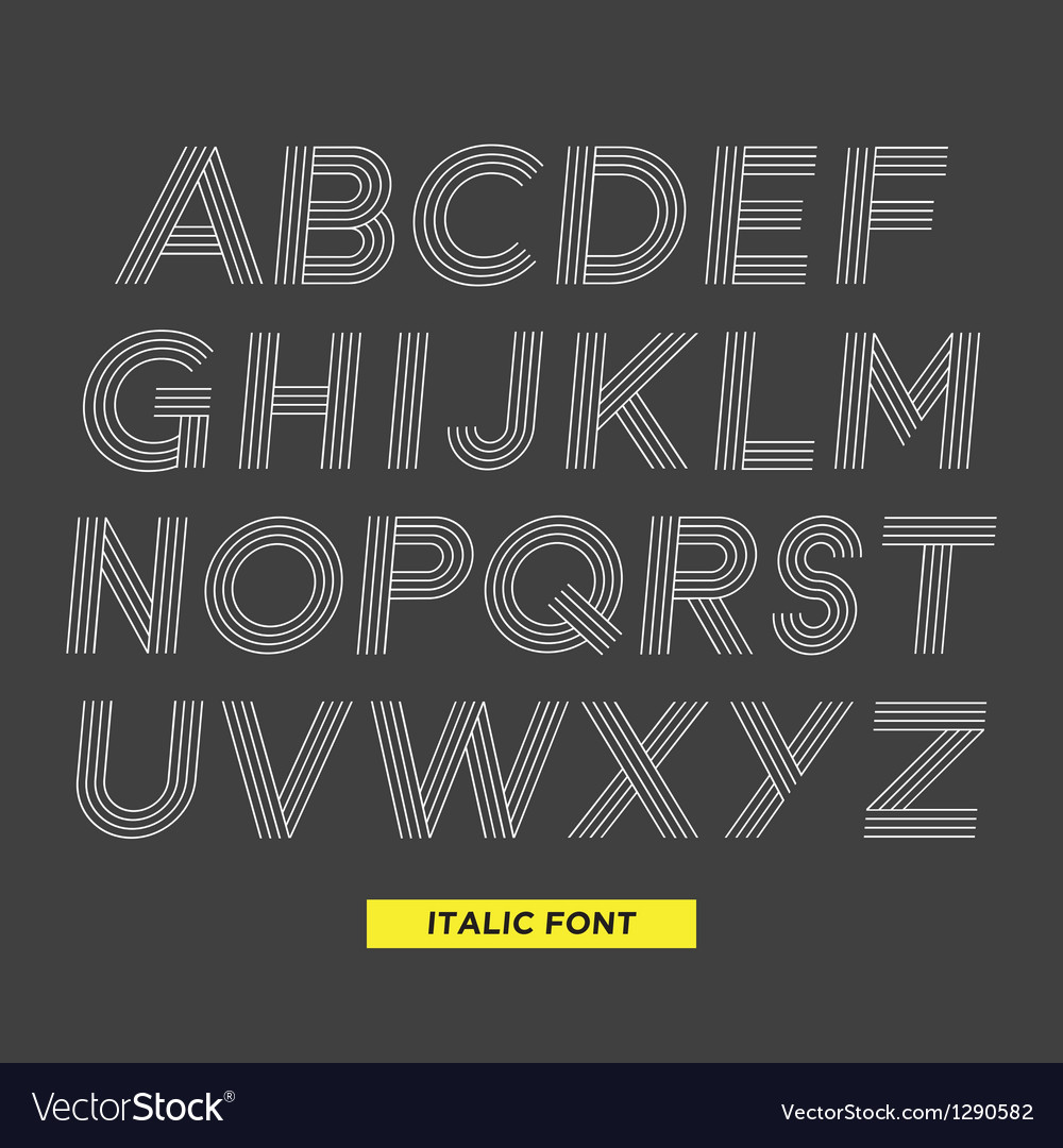 Font italic stripes vector | Price: 1 Credit (USD $1)