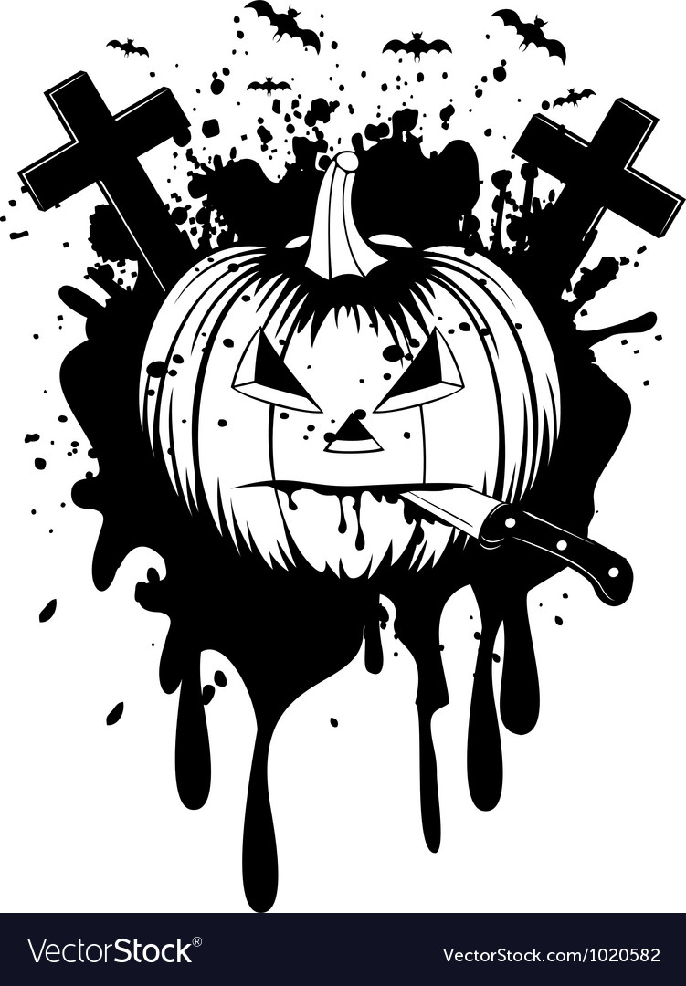 Halloween pumpkin with knife vector | Price: 1 Credit (USD $1)