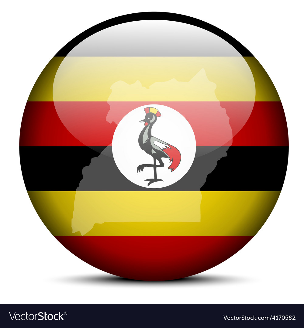 Map on flag button of republic uganda vector | Price: 1 Credit (USD $1)