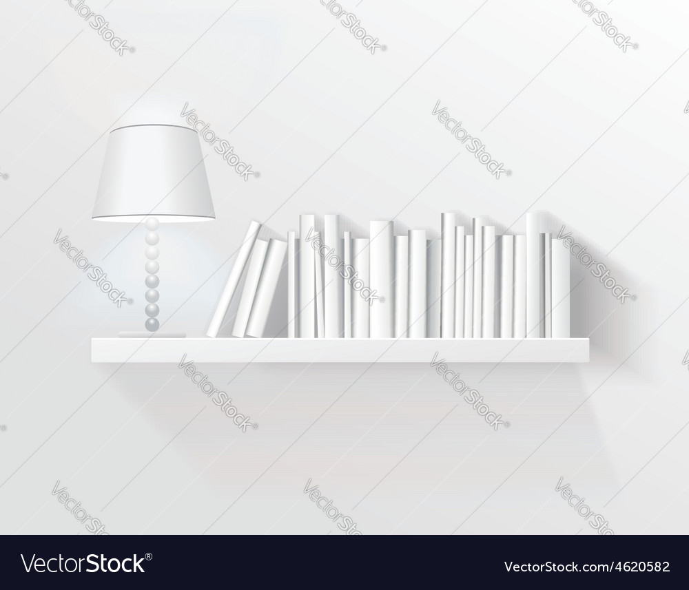 Realistic shelf on the wall with lamp vector | Price: 1 Credit (USD $1)