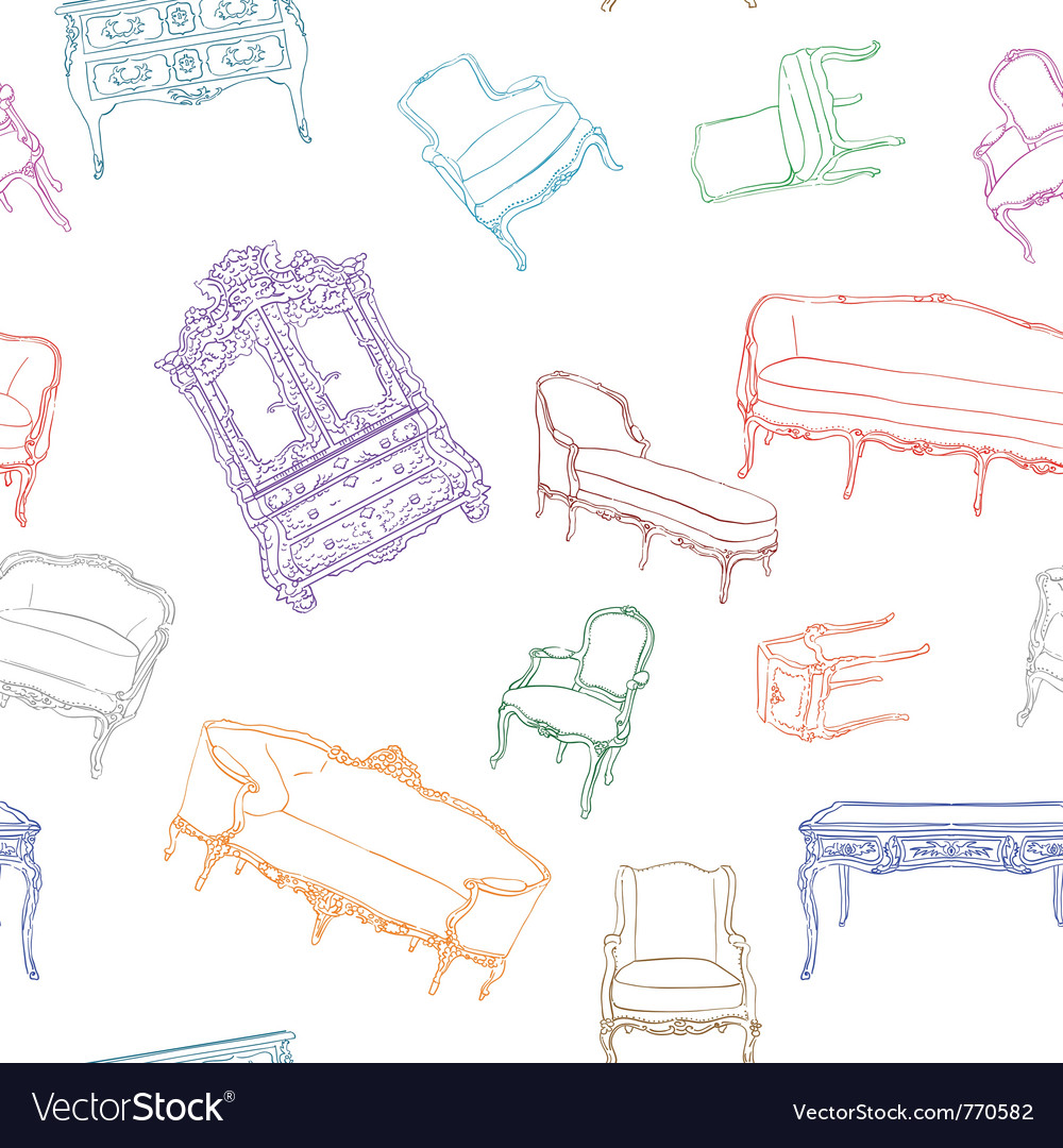 Rococo furniture pattern vector | Price: 1 Credit (USD $1)