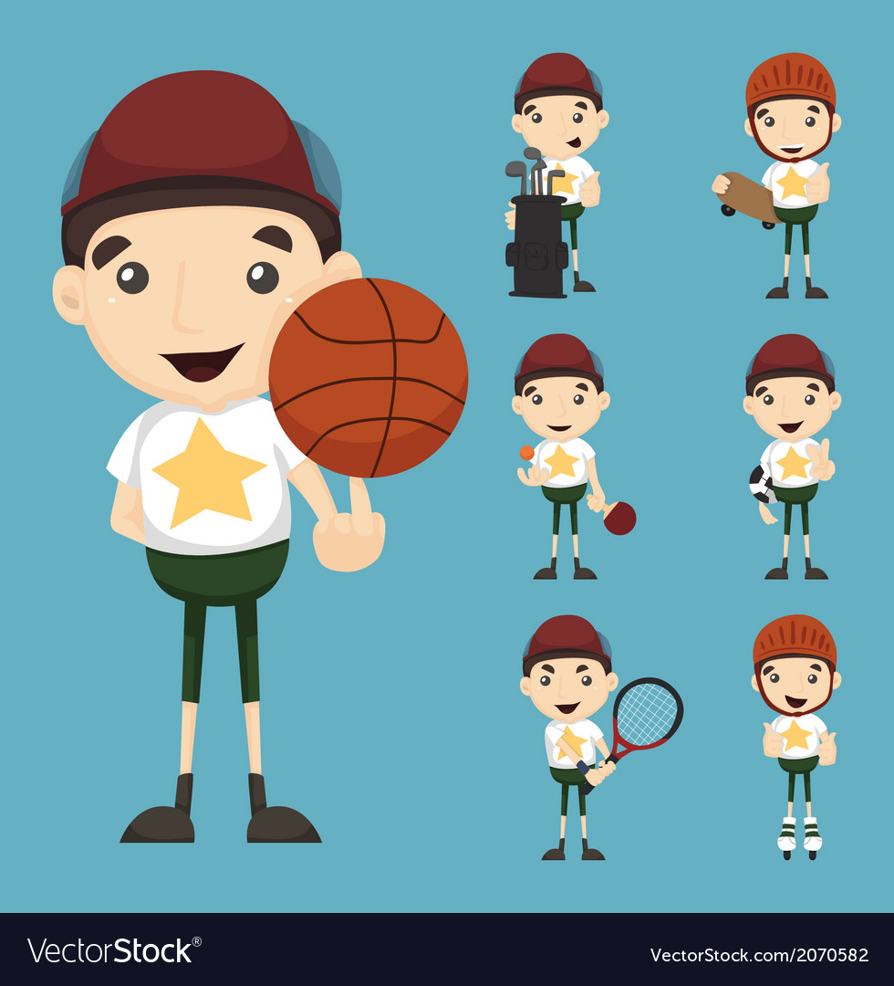 Set of boy and sport vector | Price: 1 Credit (USD $1)