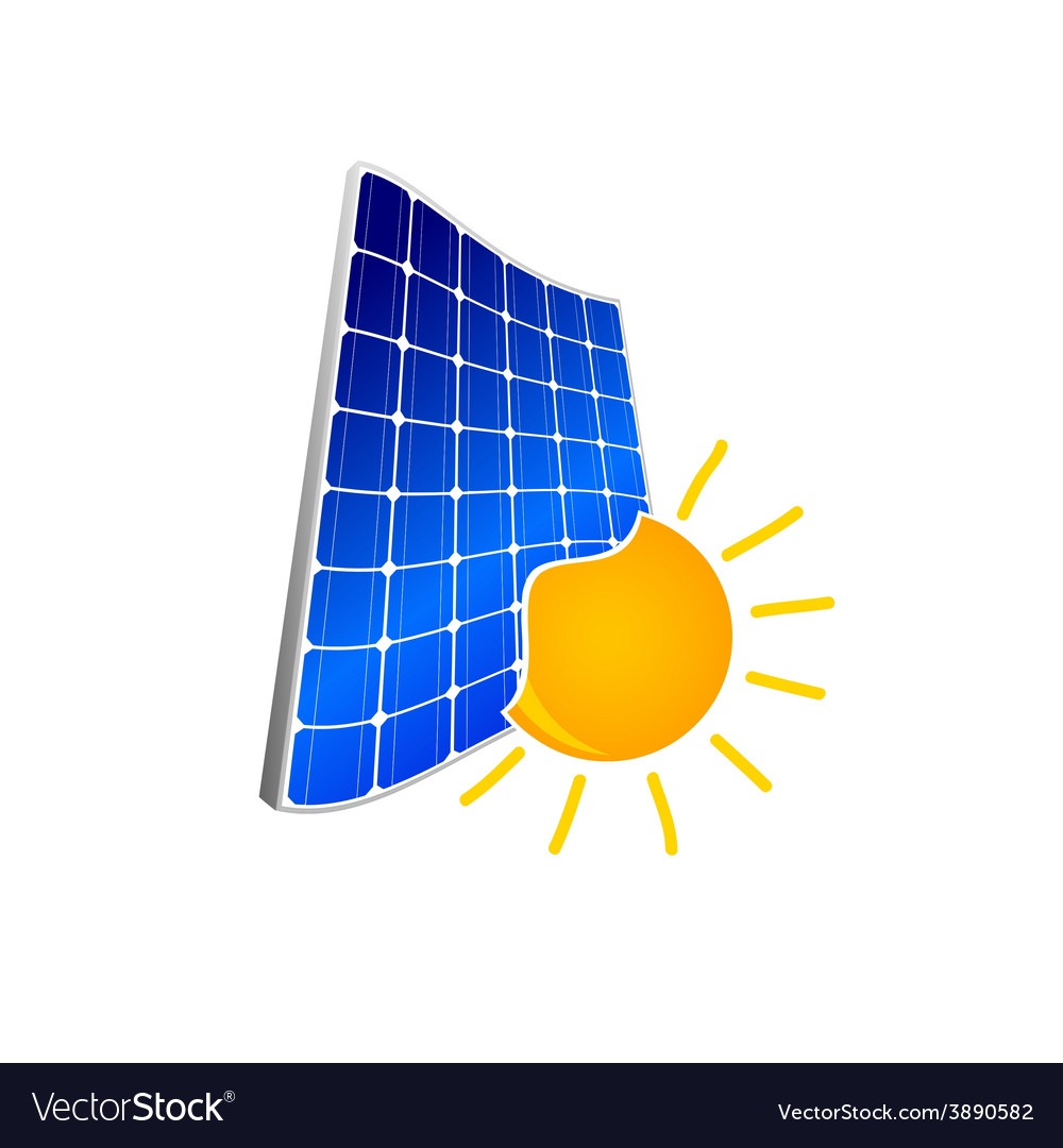 Solar panel with sun color vector | Price: 1 Credit (USD $1)