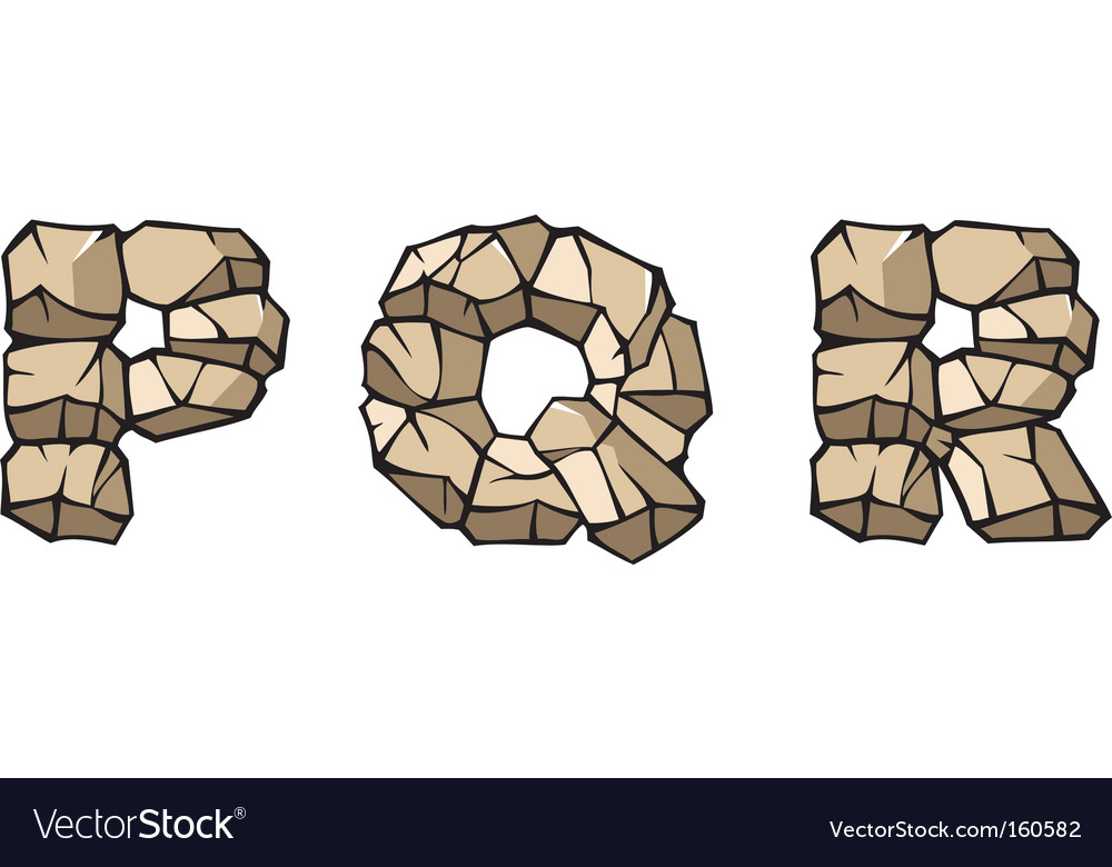 Stone alphabet pqr vector | Price: 1 Credit (USD $1)