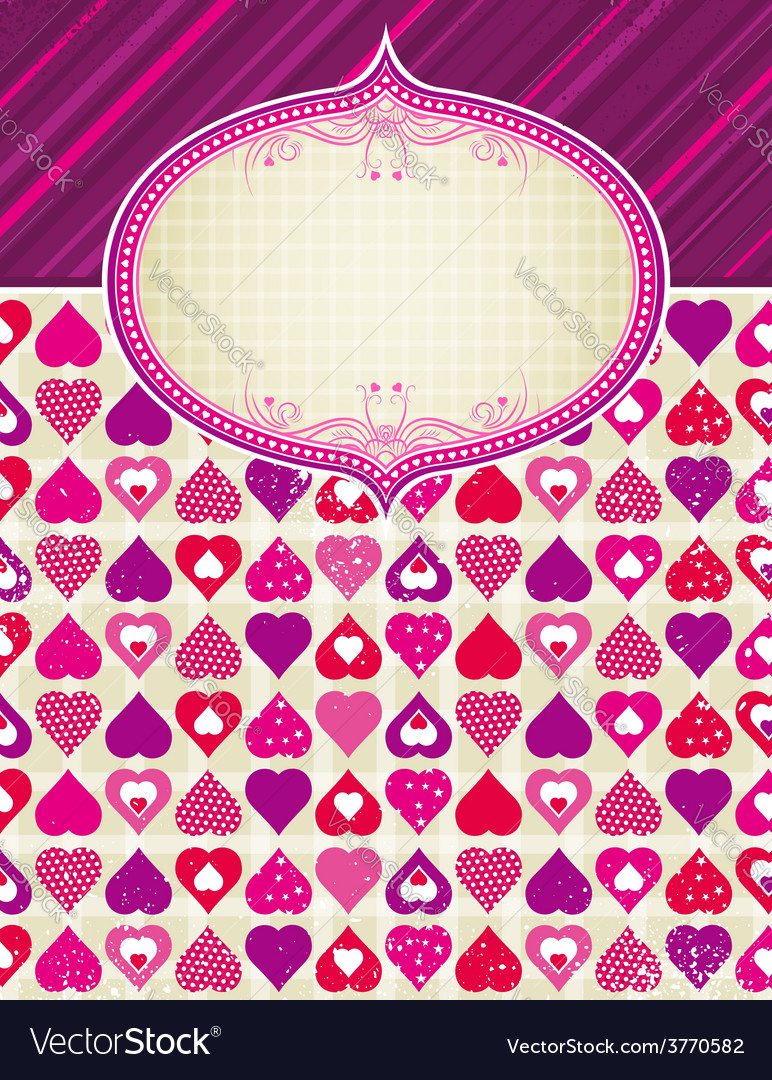 Valentine background with pink and red hearts vector | Price: 1 Credit (USD $1)