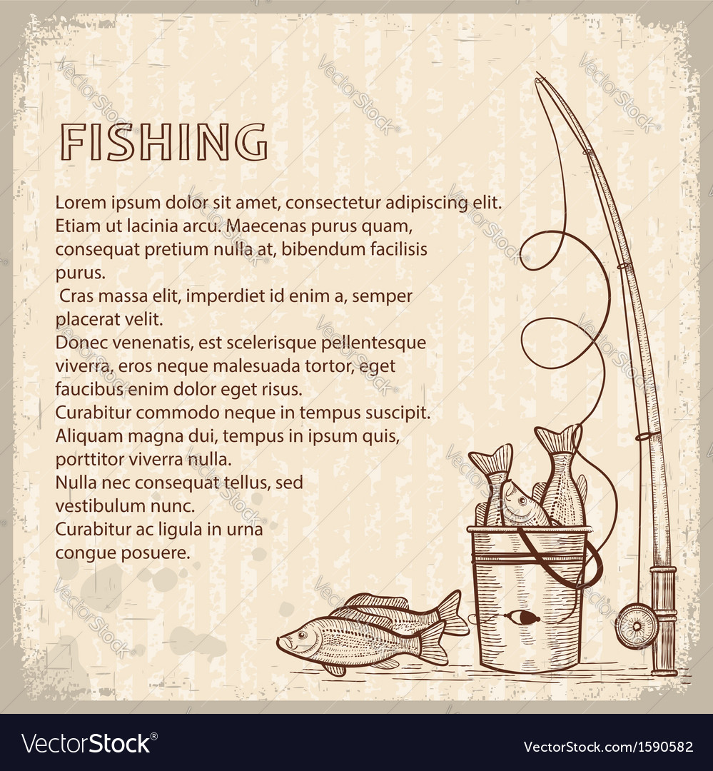 Vintage image of fishing rod and fishes drawing vector | Price: 1 Credit (USD $1)