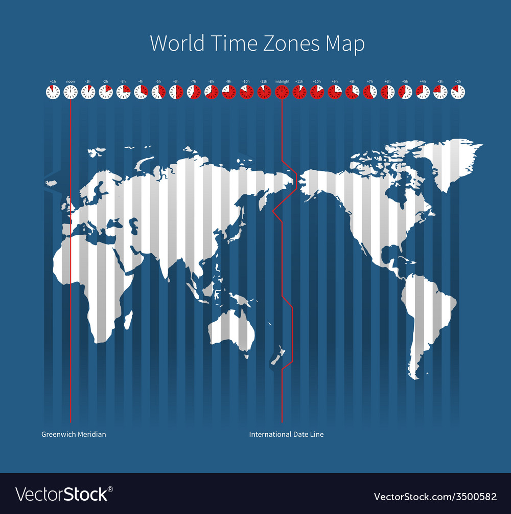 World time zones map vector