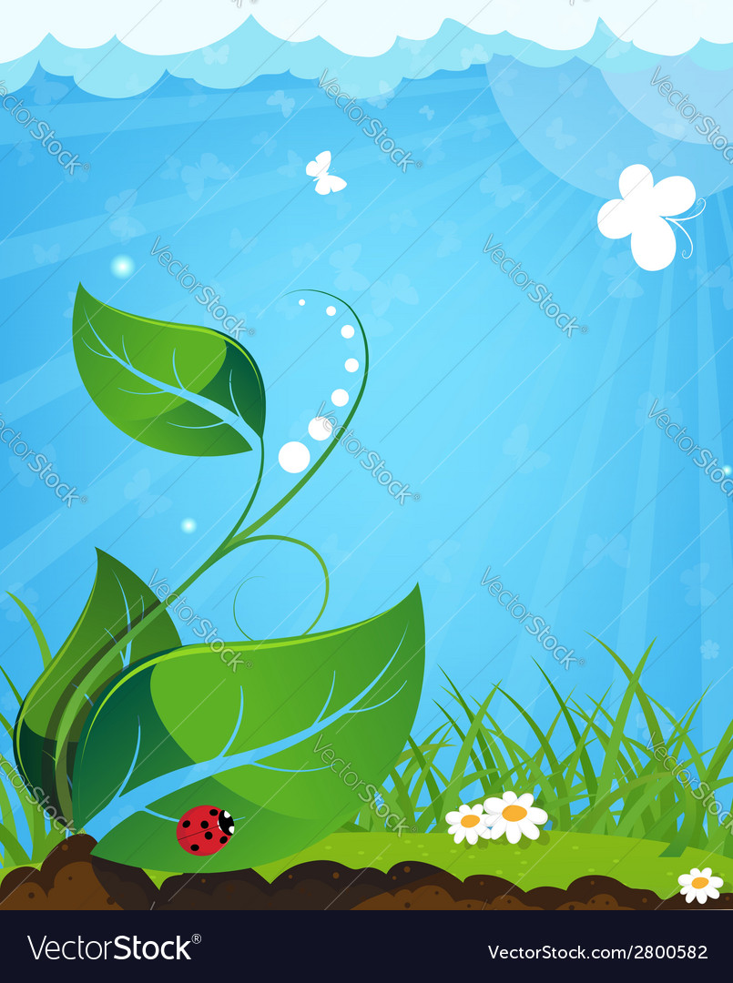 Young plant and ladybug vector   Price: 1 Credit (USD $1)