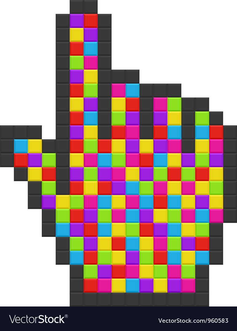 Abstract colorful pixelated computer cursor vector | Price: 1 Credit (USD $1)