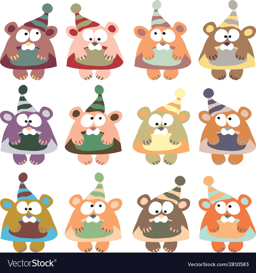 Bears in winter hats colored on the white vector | Price: 1 Credit (USD $1)
