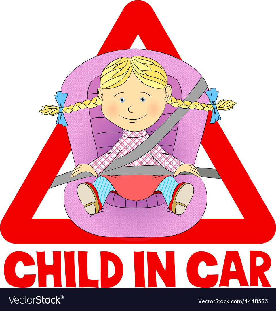 Child in car sign vector | Price: 1 Credit (USD $1)