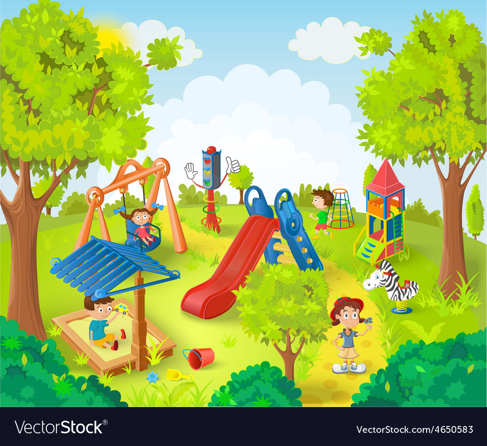 Children playing in the park vector | Price: 5 Credit (USD $5)