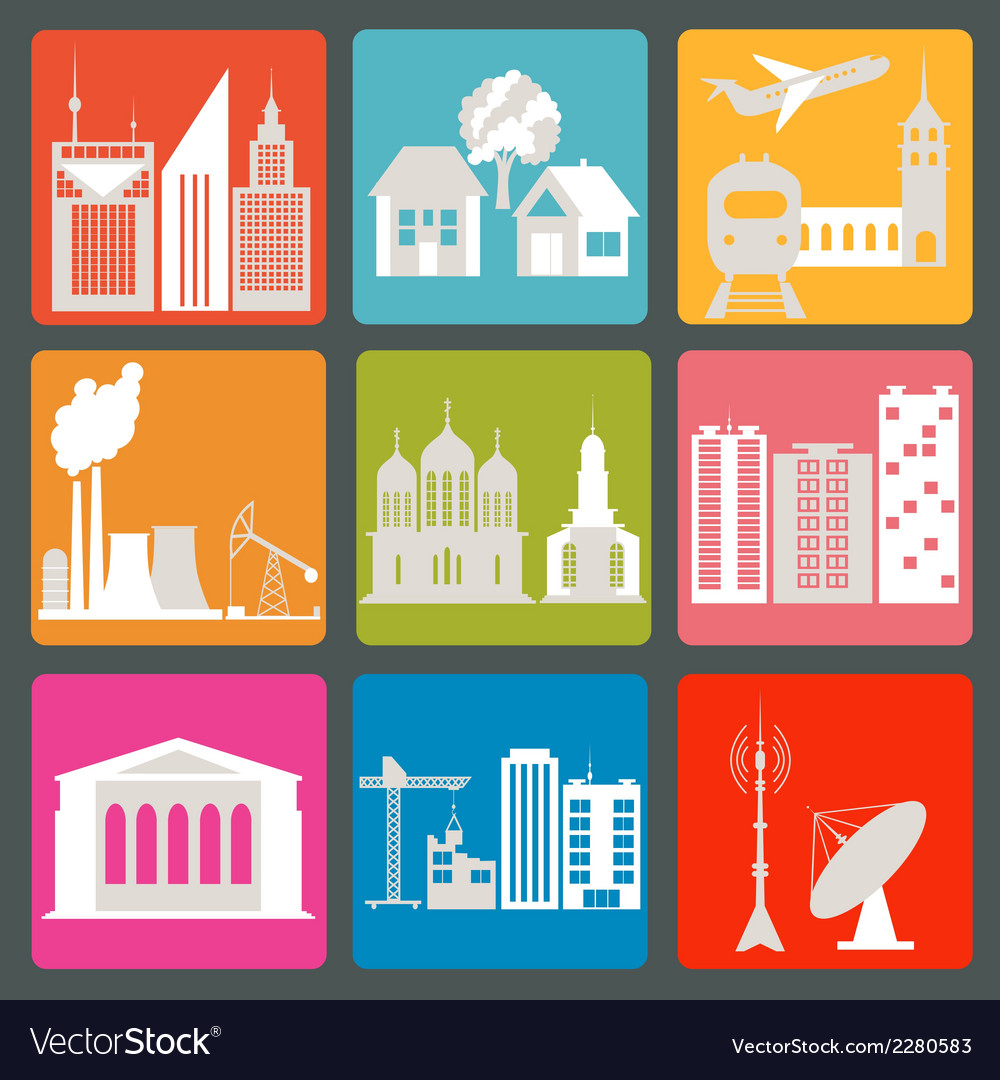 City infrastructure icons vector | Price: 1 Credit (USD $1)