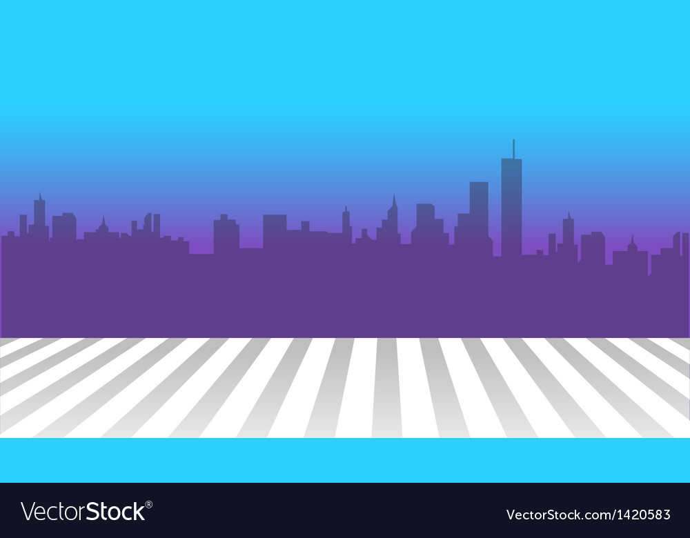 City skyline and zebra crossing in foreground vector | Price: 1 Credit (USD $1)