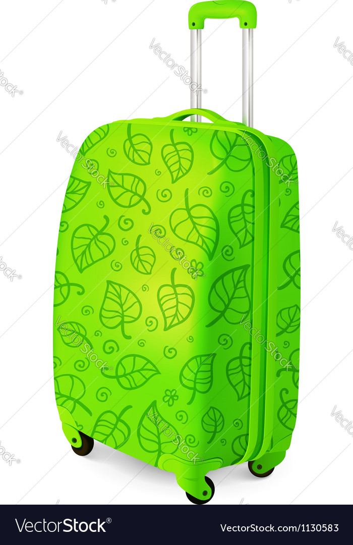 Green travelling baggage suitcase vector | Price: 1 Credit (USD $1)