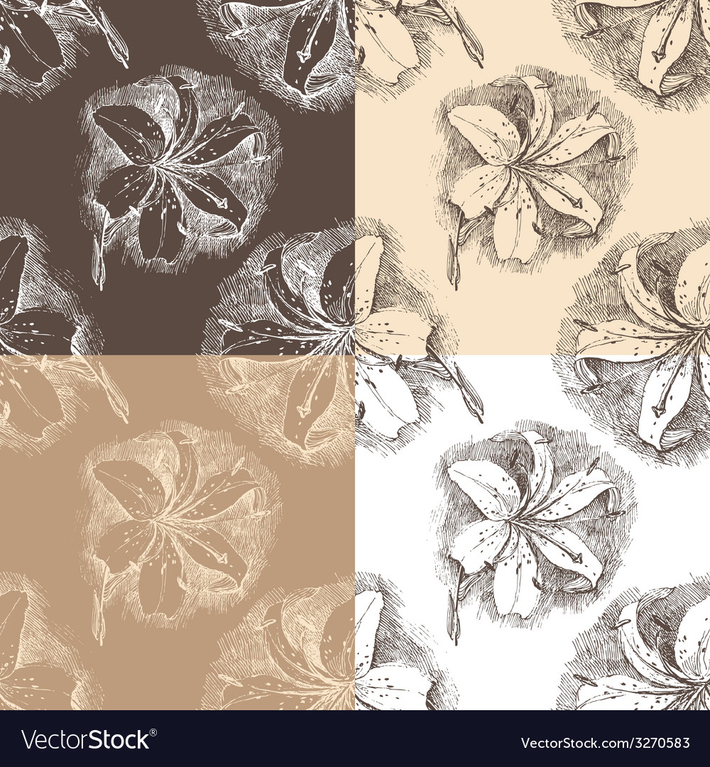 Lily seamless vector | Price: 1 Credit (USD $1)