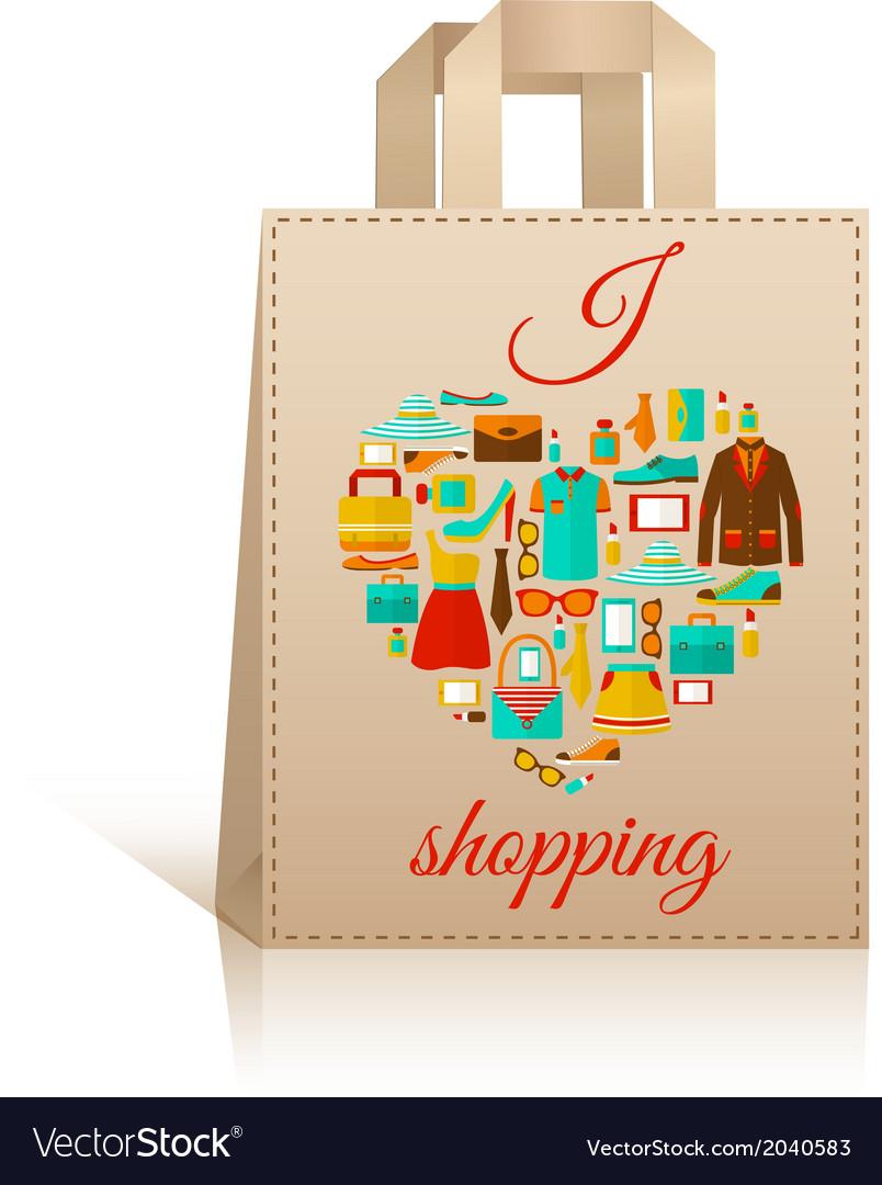 Love heart shopping bag symbol vector | Price: 1 Credit (USD $1)
