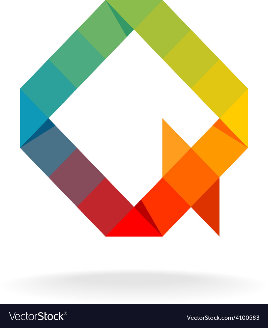 Q letter logo templaterainbow color flat squares vector   Price: 1 Credit (USD $1)