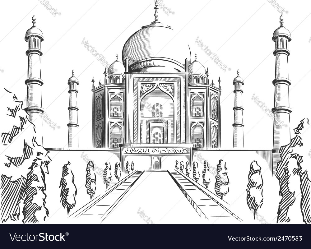 Sketch of india landmark taj mahal vector | Price: 1 Credit (USD $1)
