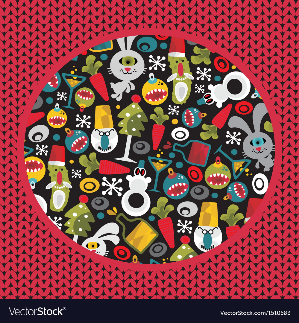 Ugly christmas pattern with monsters vector | Price: 1 Credit (USD $1)