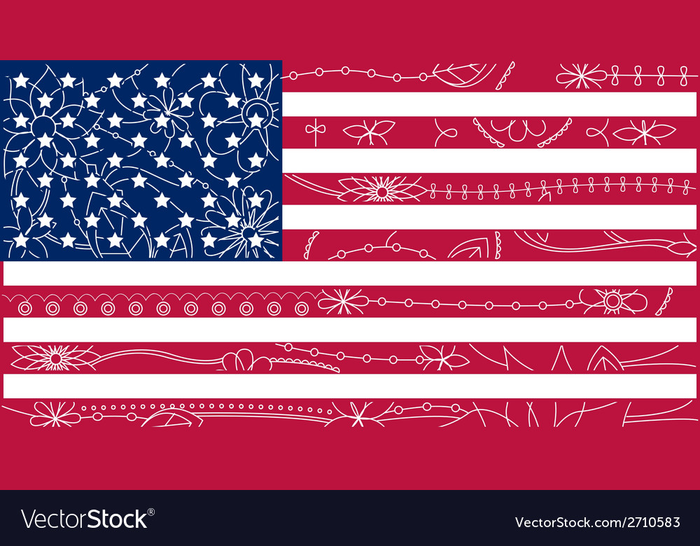 Usa flag outline 2 vector | Price: 1 Credit (USD $1)