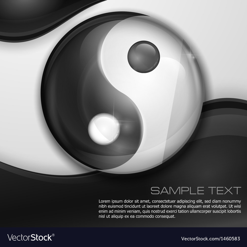 Yin yang symbol on white black vector | Price: 1 Credit (USD $1)