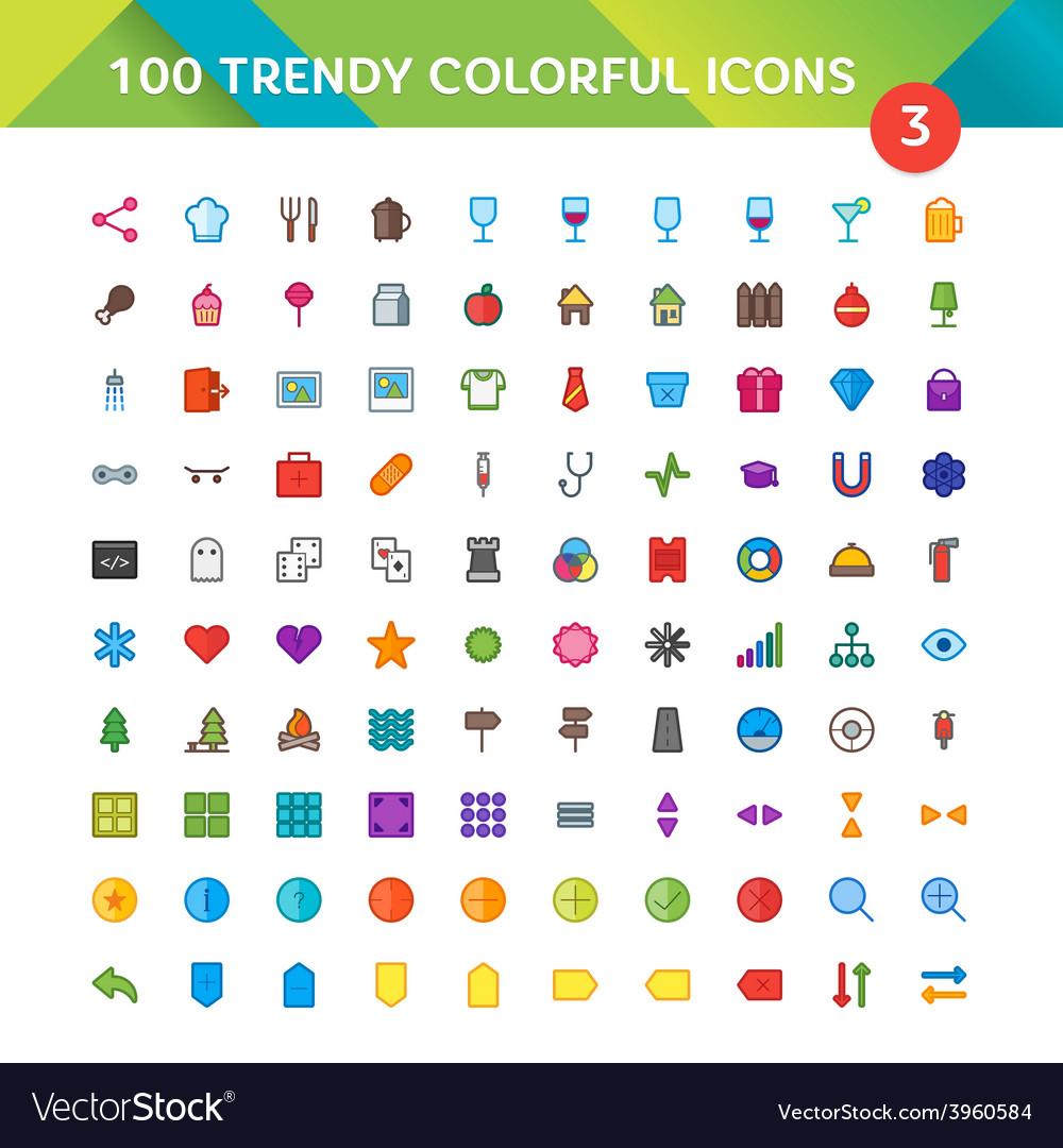 100 universal icons set 3 vector | Price: 1 Credit (USD $1)
