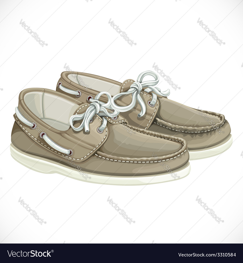 A pair of men brown moccasins isolated on white vector | Price: 3 Credit (USD $3)