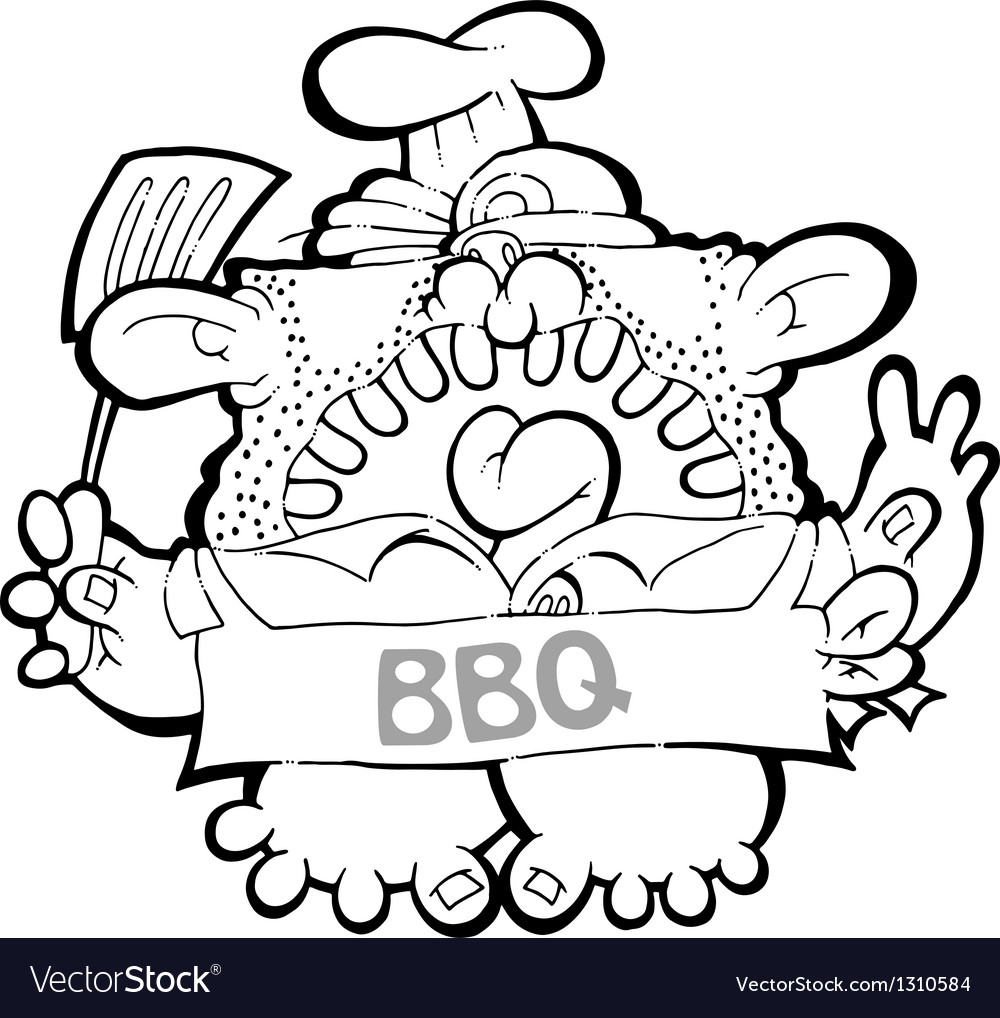 Barbeque dad - bw vector | Price: 1 Credit (USD $1)