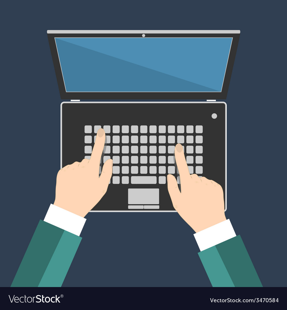 Businessman hand on laptop keyboard with blank vector | Price: 1 Credit (USD $1)