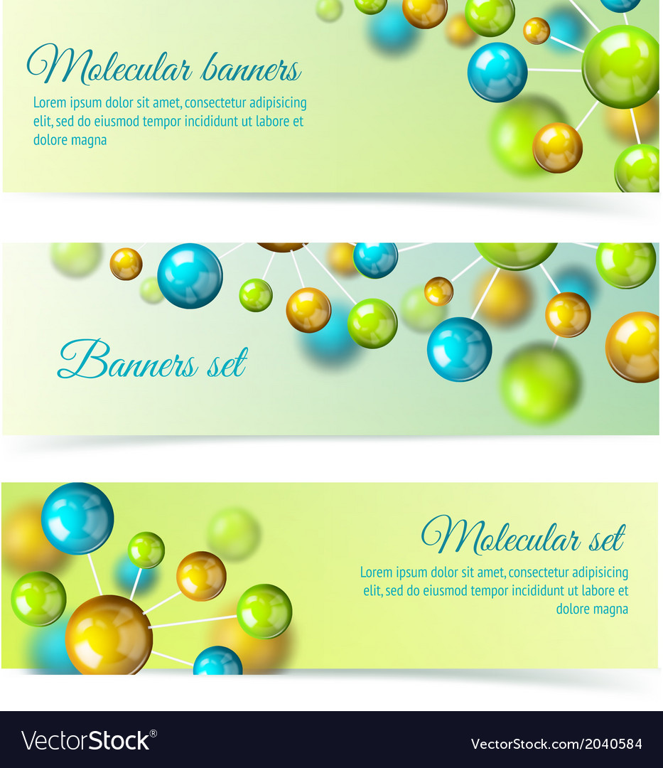 Colored molecule banners 3d set vector | Price: 1 Credit (USD $1)